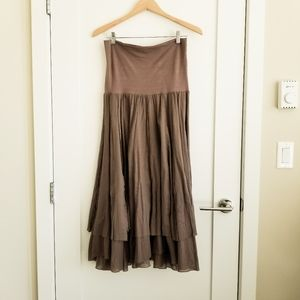 LAPIS stitch trim double layer cotton skirt